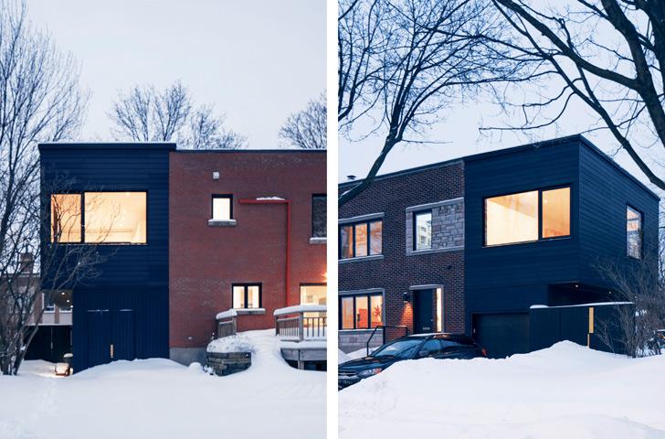 L'agrandissement permet l'affirmation de deux volumes de couleurs différentes au sein d'une même maison.