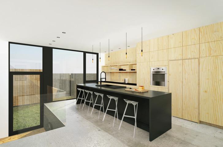 La nouvelle construction permet d'ouvrir l'espace au rez-de-chaussée et d'agrandir la cuisine existante.