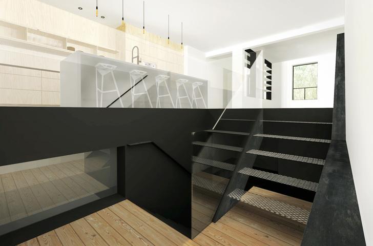 Le nouvel escalier, d'acier perforé et verre trempé, permet d'amener la lumière jusqu'au sous-sol.