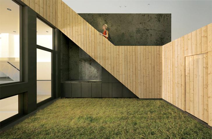 La cour arrière est recouverte d'un revêtement en cèdre blanc, de même que la façade arrière, l'escalier d'issue et les clôtures extérieures.