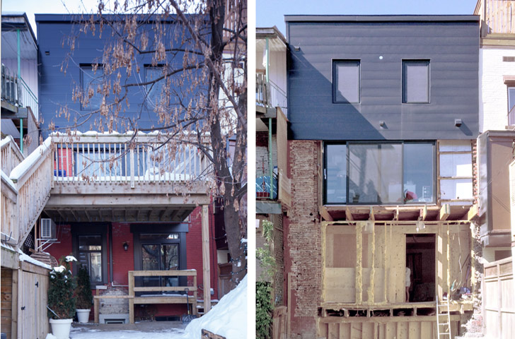 L'agrandissement vu de la cour, avant et pendant les travaux de construction.