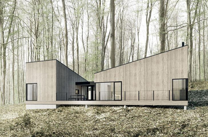 La division du chalet en petits volumes accentue l'horizontalité du projet et permet de découvrir le paysage progressivement, à partir de l'entrée centrale vitrée.
