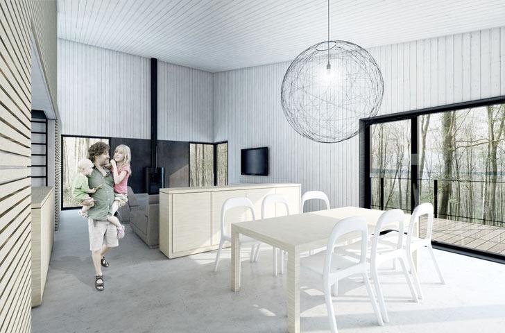 La superficie modeste du volume des espaces de vie est contrebalancée par des plafonds hauts et de grandes fenêtres, lesquels permettent de profiter de l'orientation plein sud de la maison.