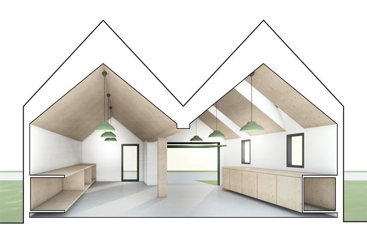 Les deux portions «cathédrales» du volume intérieur apportent lumière et hauteur aux espaces de travail.