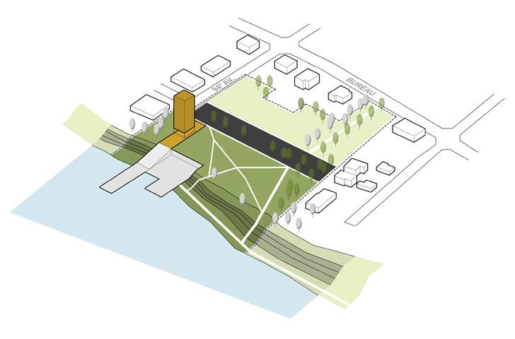 Le site du projet se divise en 2 grandes zones reliées par une grande esplanade d'accès: l'une reliée au fleuve, orientée vers les activités nautiques et permettant la restauration des berges; l'une reliée à la ville, permettant l'accès au site, l'installation de jeux publics (pétanque, volleyball, hockey)