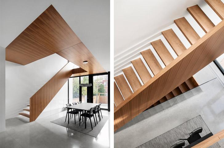 Un grand espace ouvert sur les 3 niveaux de la maison accompagne la montée des escaliers et amène la lumière jusqu'au centre de l'habitation.