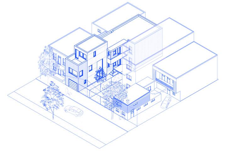 Le bâtiment et son nouvel agrandissement dans son contexte.