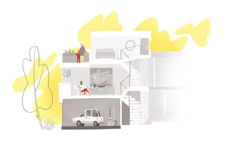 Un espace de circulation vertical assure le lien entre les différents niveaux du duplex existant et les étages de l'agrandissement. Crédit illustration: Jeff Kulak