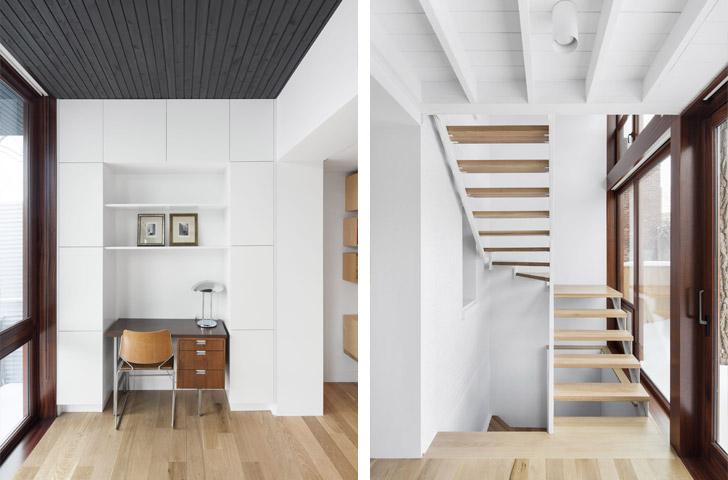 Un petit bureau est installé dans l'agrandissement au 2ème étage, à mi-chemin entre la cour et la maison d'origine.