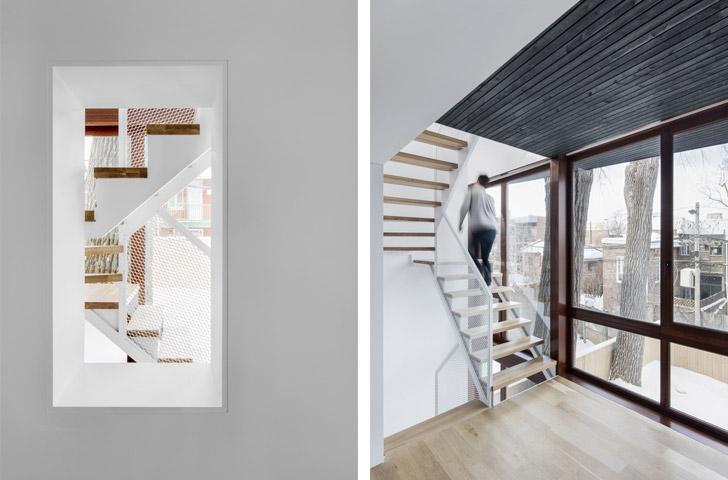 Les fenêtres existantes deviennent des percements vers l'escalier.