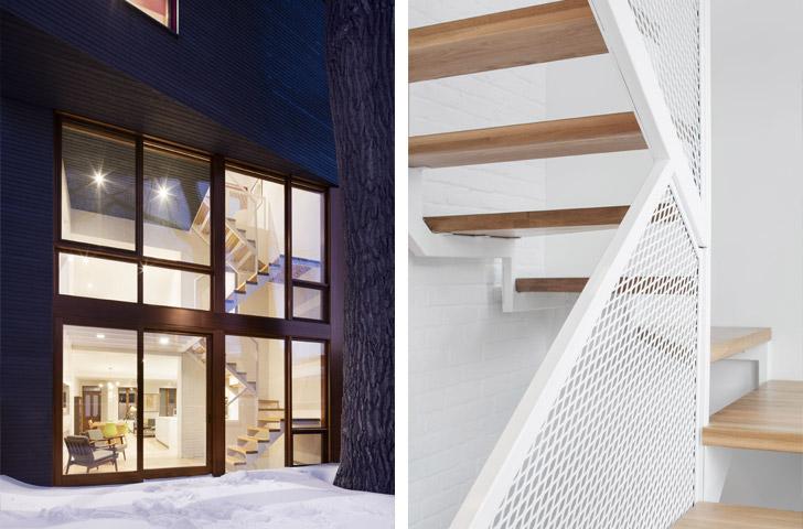 Le contraste marqué entre cet ajout contemporain et la maison construite en 1885 est renforcé par l'intégration d'un nouvel escalier d'acier léger qui agit comme filtre entre les usages intérieurs et extérieurs.
