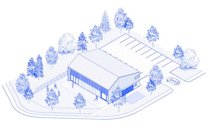 Vue du nouveau bâtiment et son contexte.