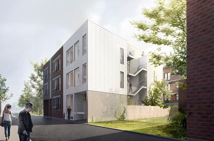 Variation inattendue sur le thème du triplex montréalais, le projet comporte deux petites unités de 2 étages, accessibles du rez-de-chaussée, un logement d'un seul niveau, au premier étage, et un quatrième logement avec mezzanine donnant sur le toit.