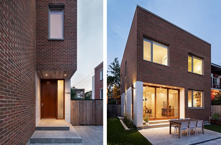 La brique blanche vernissée utilisée créée un lien visuel fort qui relie l'avant et l'arrière de la maison dans un geste d'enveloppement.