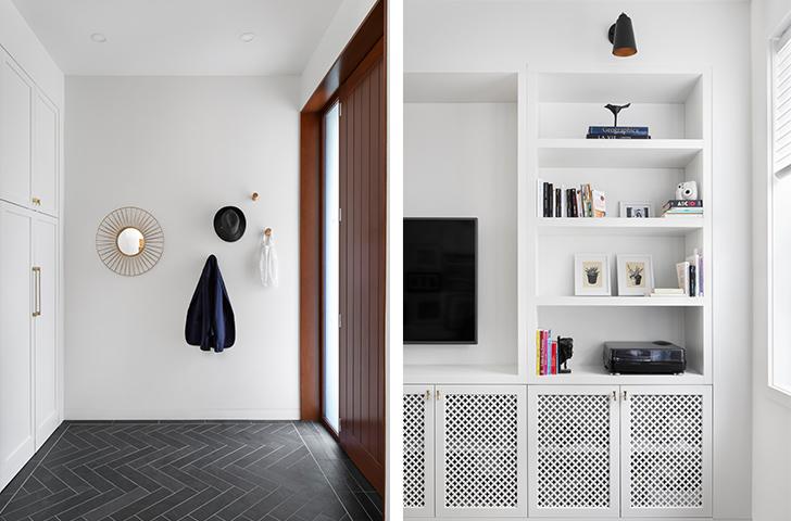 Inscrite dans l'axe de la circulation verticale de la maison, l'entrée spacieuse agit comme séparation entre les espaces ouverts de la cuisine/salle à manger et le salon.