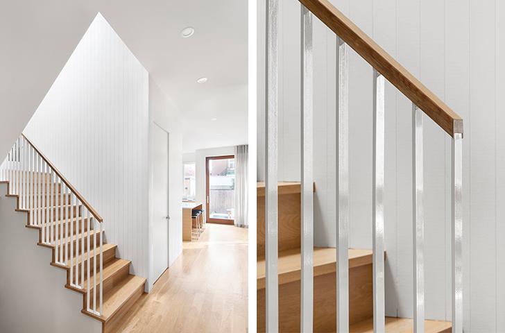Le rez-de-chaussée, ouvert et lumineux présente une organisation linéaire où la position centrale de l'escalier agit comme zone de transition et de séparation entre les pièces de vie.