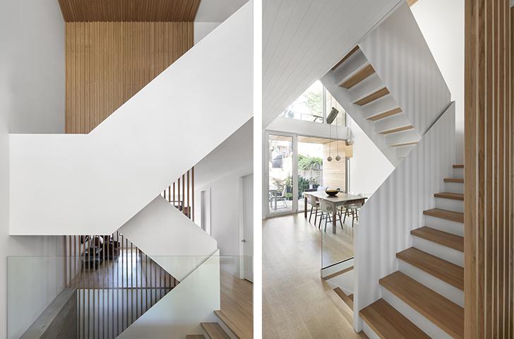 Une double-hauteur qui intègre escalier sculptural et résille de bois.