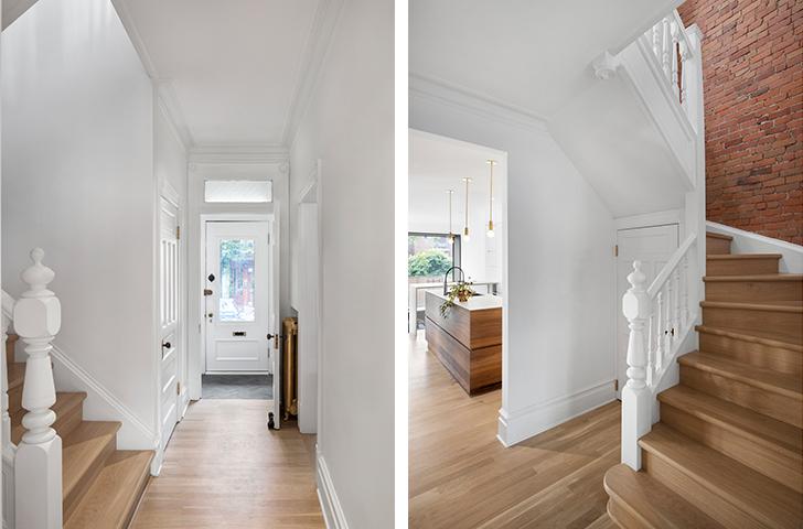 L'escalier, les portes et les menuiseries en bois massif, les moulures en plâtre et les radiateurs en fonte font l'objet d'une restauration minutieuse.