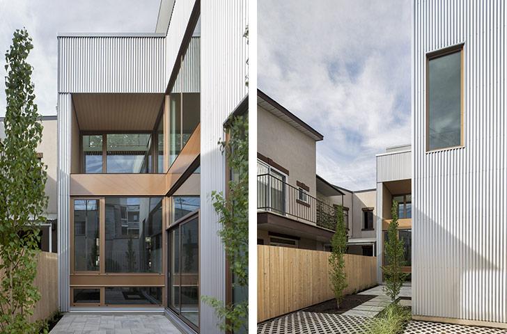 L'aménagement paysager souligne les liens entre intérieur et extérieur à travers des zones pavées et végétalisées.