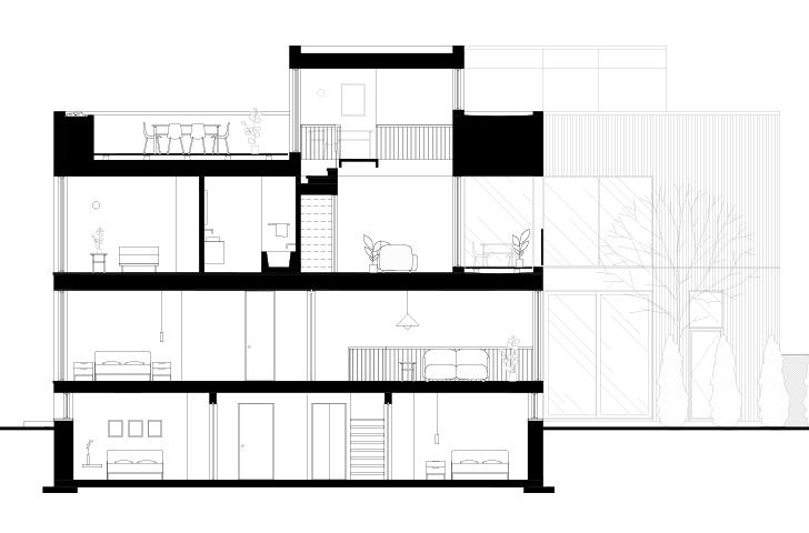 Le jeu de palier marqué par des changement de hauteur des plafonds et planchers  permet la création de zones distinctes qui demeurent cependant en relation les unes avec les autres.