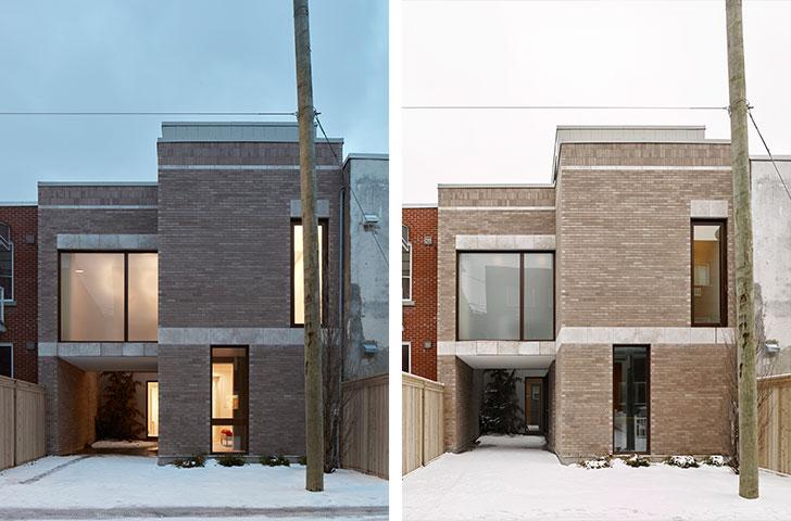 Les bandeaux horizontaux de pierre – qui coupent et unissent à la fois la façade –, les linteaux de pierre au-dessus des fenêtres et les briques en soldat au sommet enrichissent la composition.