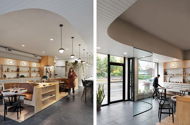 Les courbes et détails arrondis, celle du vestibule ou de la retombée de plafond, ont donc été imaginés afin de guider le parcours des clients.