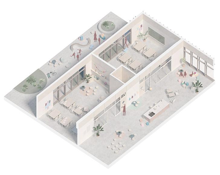 Afin de permettre une grande flexibilité d'usages et d'ambiance, les salles de classe de chaque cycle sont bordées de part et d'autre par de grandes ouvertures donnant accès à une courette et un espace de collaboration.